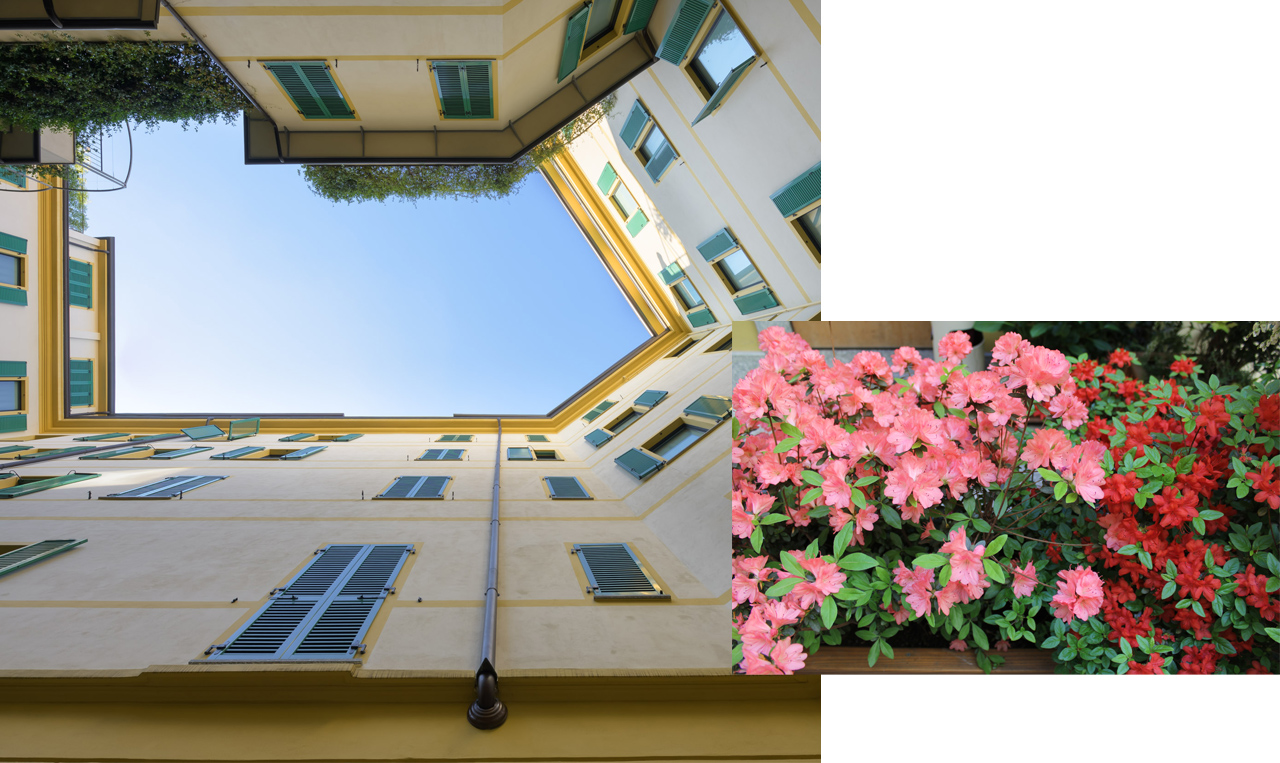 presenza di un cortile coperto ad uso degli uffici e della residenza